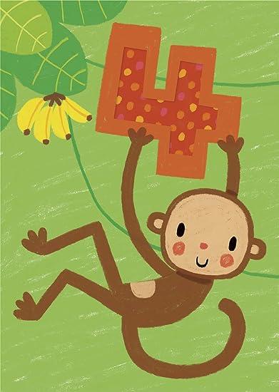 Amazon Age 4 Giant Monkey Sticker Birthday Card Health