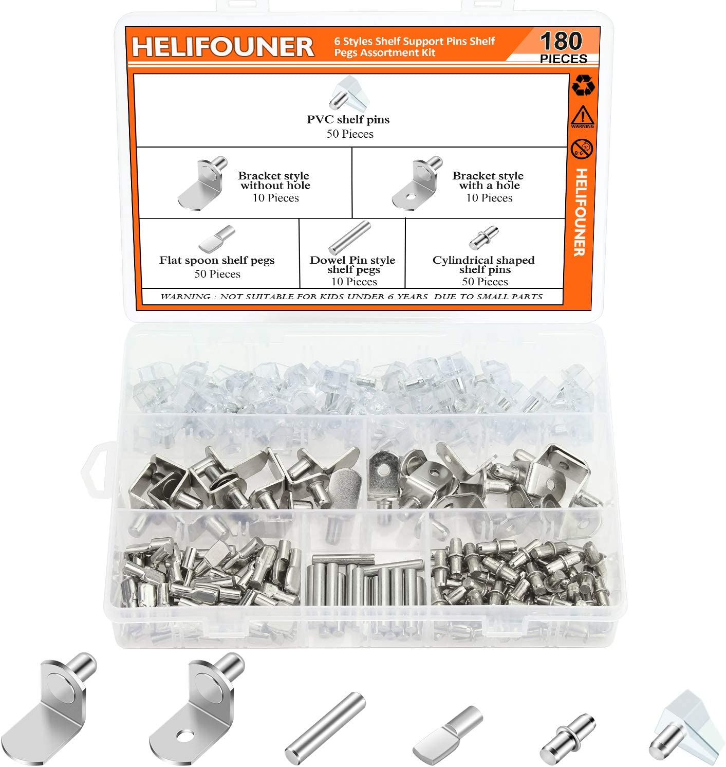Bookcases HELIFOUNER 180 Pieces 6 Styles Shelf Pins Kit Top Quality Nickel Plated Shelf Bracket Pegs Cabinet Furniture Shelf Pins Support for Shelf Holes on Cabinets Entertainment Centers