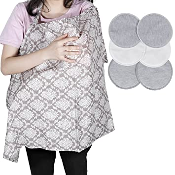 Lictin Breastfeeding Scarfnursing Cover With 6 Nursing Pads 100