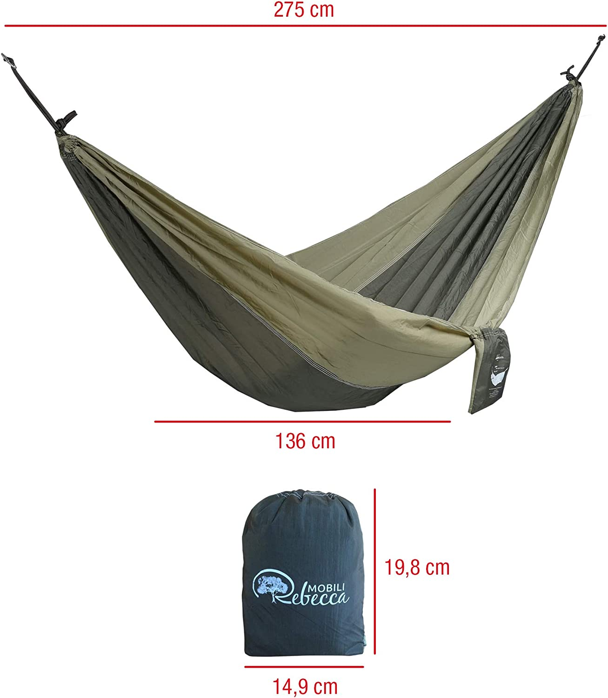 cod. RE6313 Rebecca Mobili Amaca Outdoor Verde Nylon Carico 120 kg Giardino Campeggio Escursionismo Ultraleggera Sacchetto Kit di Fissaggio L 275 x D 136 cm