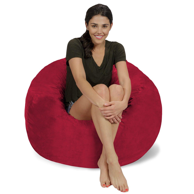 Chill Sack Bean Bag Chair: Large 3' Memory Foam Furniture Bean Bag - Big Sofa with Soft Micro Fiber Cover - Cinnabar Micro Suede