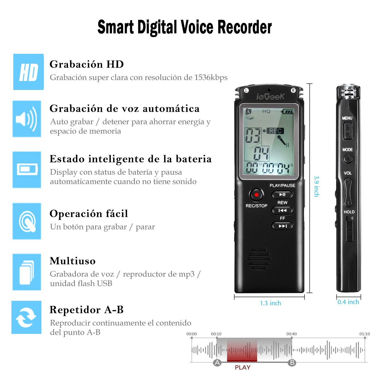 Grabadora de Voz Digital, ieGeek 8GB 1536Kbps [MP3, Auriculares, Recargable] Grabadora de Sonido Dictafonía de Grabación HD/Cancelación de Ruido/Doble ...