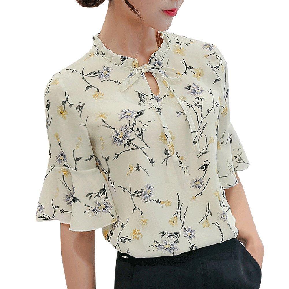 c4f1b8f2c6 HOTOBUYEE Women Blouses Chiffon Print Ruffles Sleeved Work Shirts for Womens  Elegant Blouses Female Summer Tops at Amazon Women's Clothing store: