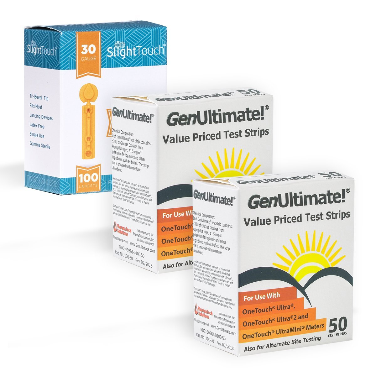 GenUltimate Blood Glucose Test Strips For Use with One Touch Ultra Meters - 2 Pack With 100 Slight Touch Lancets by Slight Touch