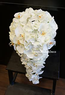 Amazon pure white orchid rose calla lily long cascading bridal sweet home deco gel coated real touch phanaenopsis orchid hydrangea diamond wedding bouquet package bridal bouquet mightylinksfo