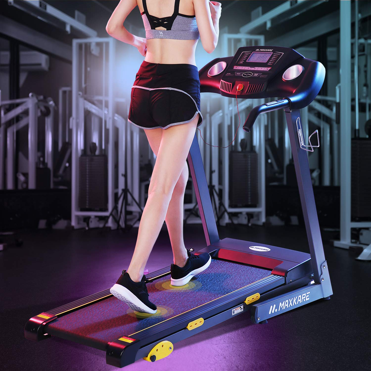 MaxKare Treadmill with 15 Pre-Set Programs, 2.5HP Power, 17'' Wide Tread Belt, 8.5 MPH Max Speed, LCD Screen, Cup Holder & Wheels, Easy Assembly, Black