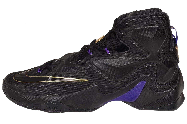 Nike Men s Lebron XIII Black Black Metallic Gold Hyper Grape Basketball Shoe – 11 D M US