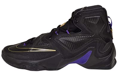 reputable site b2a8d 3e880 Image Unavailable. Image not available for. Color  Nike Men s Lebron XIII  Black Black Metallic Gold Hyper Grape Basketball Shoe ...