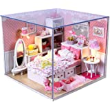 Generic DIY Wooden Dolls House Miniature Kit With Light -Bedroom-15018595MG