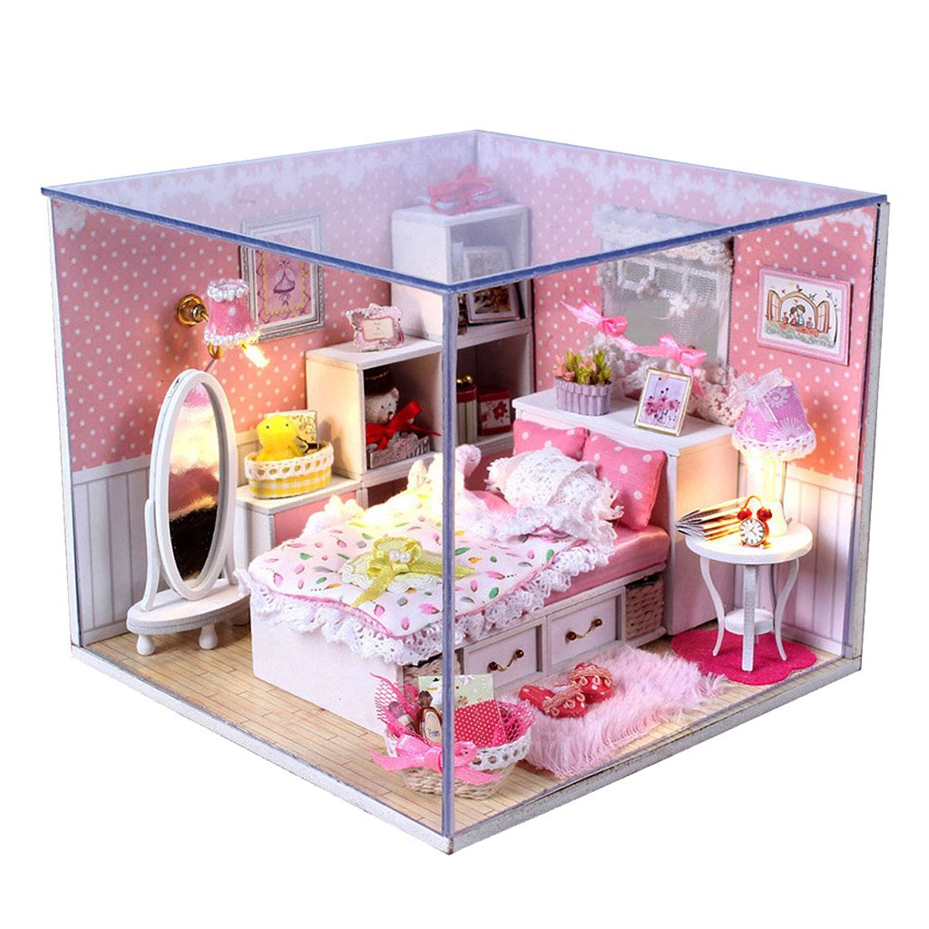 Buy Generic DIY Wooden Dolls House Miniature Kit With Light   Bedroom 15018595MG Online At Low Prices In India   Amazon.in