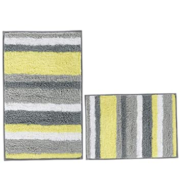 Amazon Com Hebe Non Slip Bath Rug Set Of 2 Striped Microfiber Bath