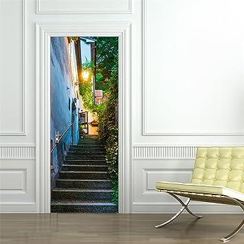 Affordable DSU 3D Wall Sticker Door Stickers Landscape Waterproof Living  Room Bedroom Door Wallpaper Self Adhesive