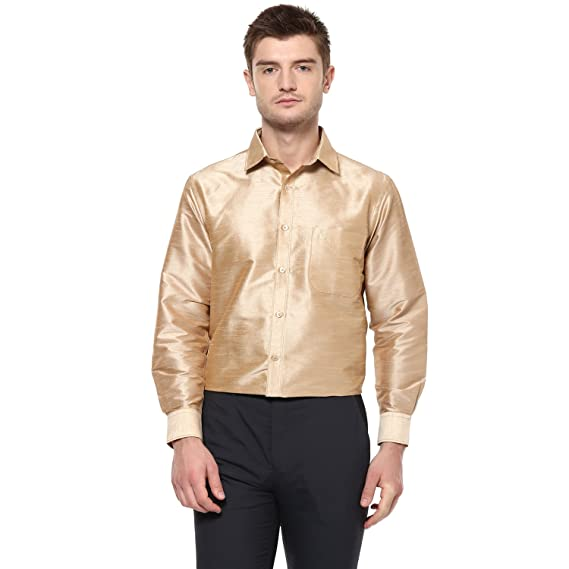 a7cc21ce909d3 Khoday Williams Men Poly Silk Plain Solid long sleeve Regular Fit Casual  Formal Shirt Gold M  Amazon.in  Clothing   Accessories