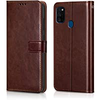 WOW Imagine Premium Leather Finish Inside TPU with Card Pockets Wallet Stand Shock Proof Magnetic Closure 360 Degree Complete Protection Flip Cover for Samsung Galaxy M30s (Chesnut Brown)