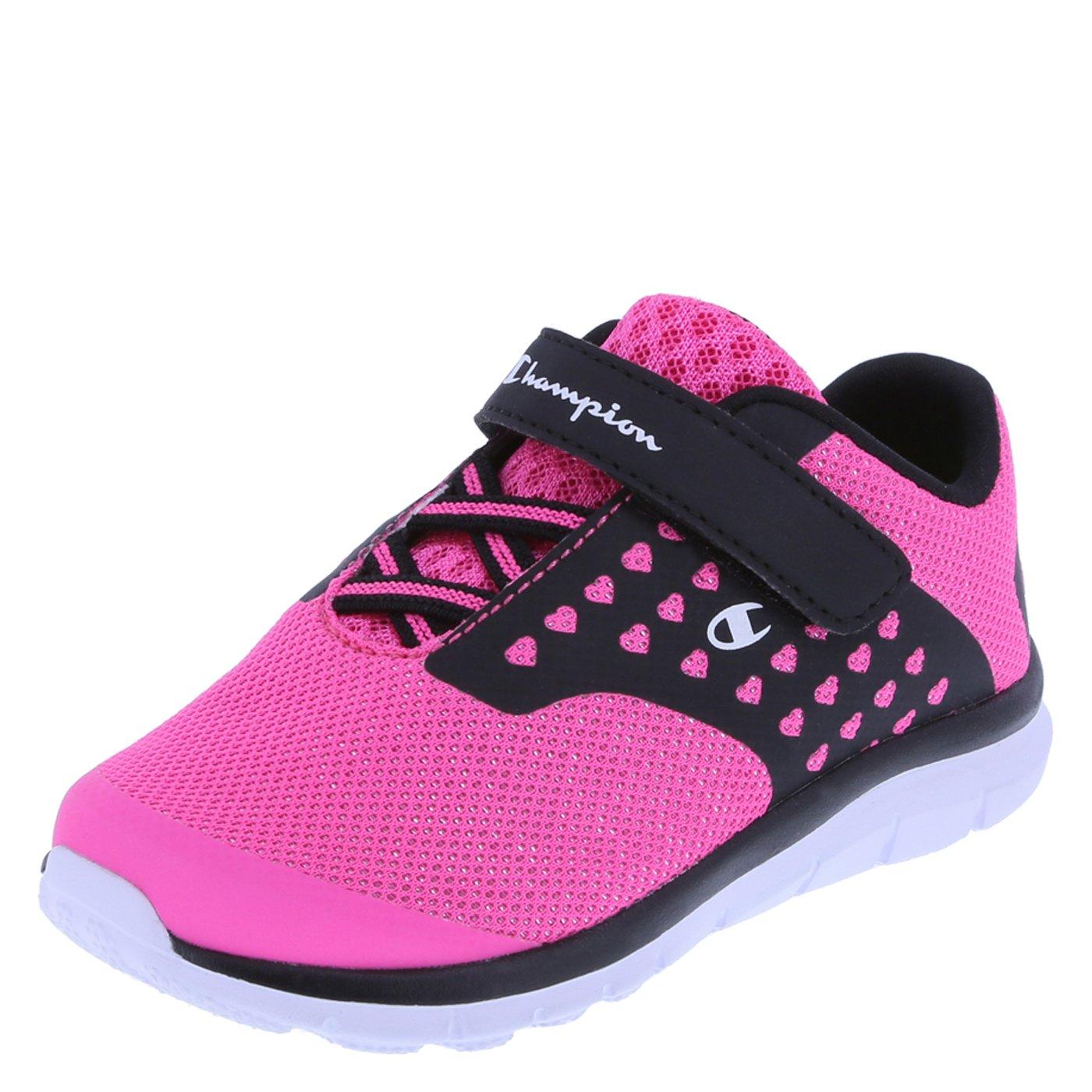1ec46905bd34 Galleon - Champion Girls  Pink Black Heart Mesh Girls  Toddler Strap Gusto  Cross Trainer 7 Wide