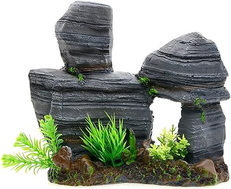 3pcs Mountain View Aquarium Ornaments Rockery Set Reptile Landscape Decoration