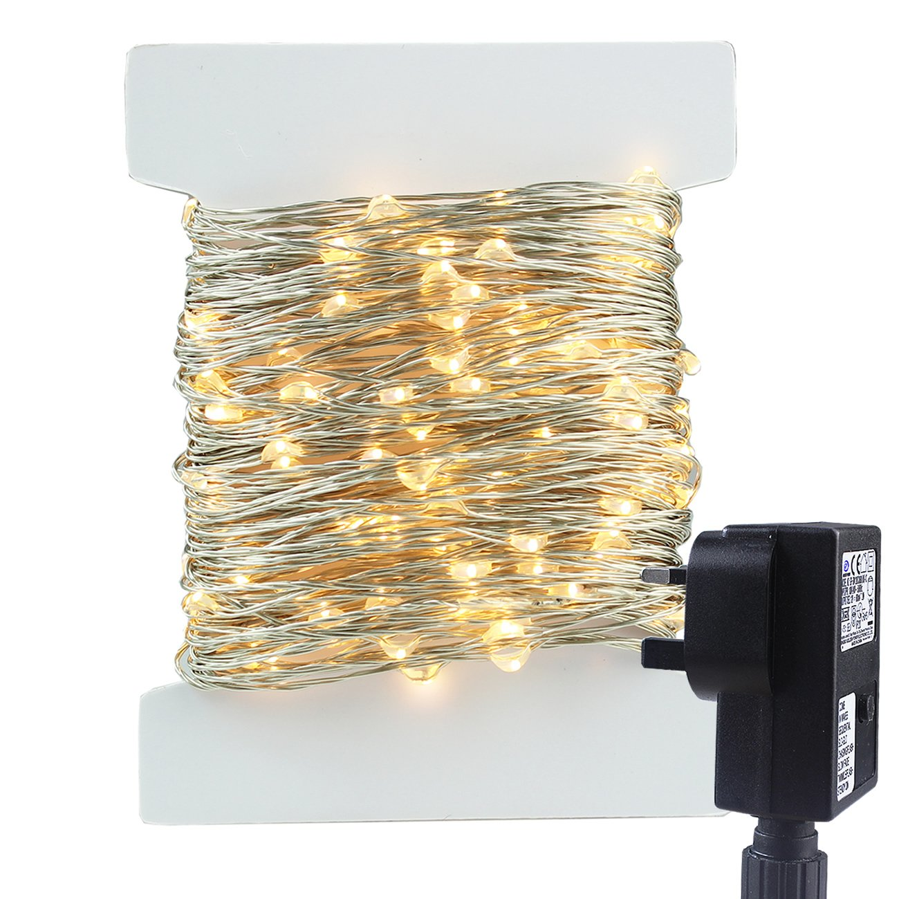 RPGT 200 LED String Light 20M Silver Copper Wire Fairy Starry Lights 8 Modes With Safe Extra Low Voltage Power Adapter Indoor and Outdoor for Home DIY, Wedding, Christmas Tree, Holiday, Party, Garden, Festival Decoration (200LEDs, Warmwhite)