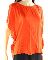 Ella Moss Womens Small Keyhole Hi-Low Flutter Blouse Orange S