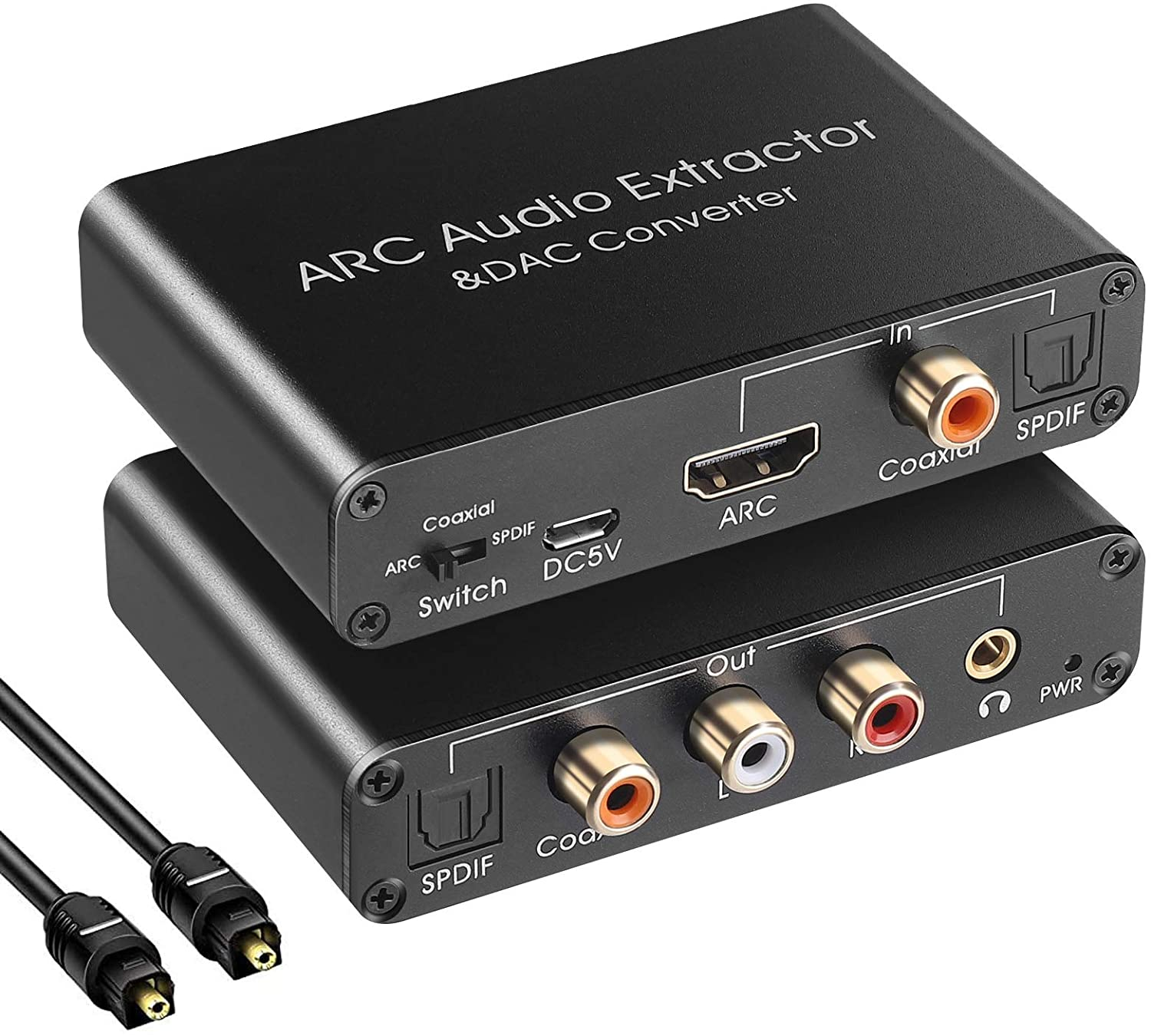 HDMI ARC Audio Extractor 192KHz DAC Converter ARC Audio Extractor Support Digital HDMI Audio to Analog Stereo Audio RCA L/R Coaxial SPDIF and 3.5mm Jack ARC Audio Adapter for TV