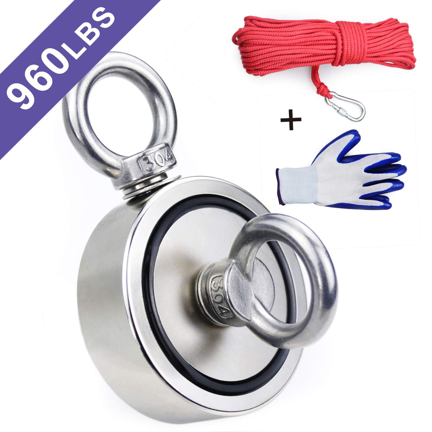 Double Sided Neodymium Fishing Magnet,Combined 960 lbs(436KG) Pulling Force Rare Earth Magnets with 20m (65 Foot) Durable Rope and Protective Gloves by BAVITE