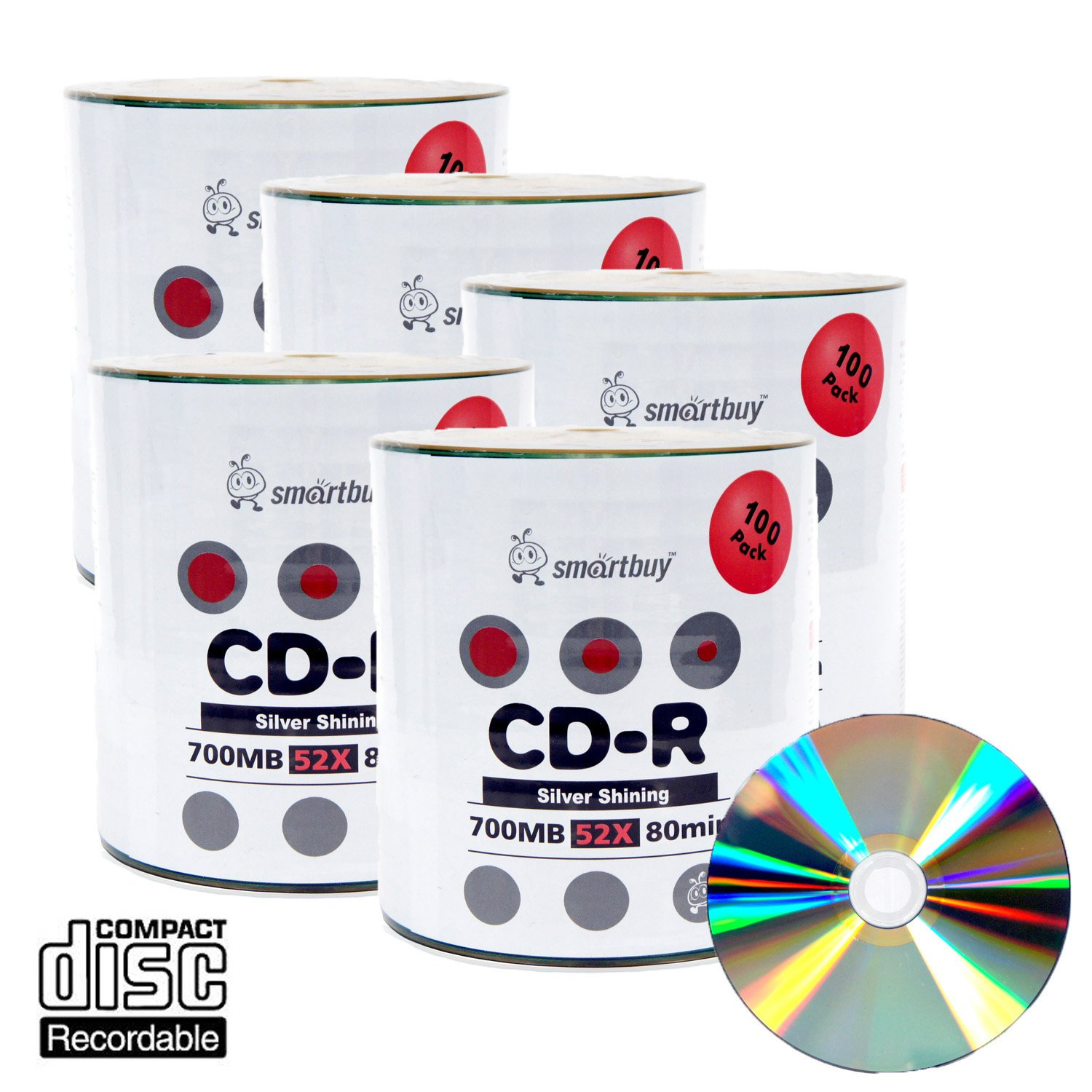 Smart Buy Shiny Silver Top CD-R 500 Pack 700mb 52x Blank Recordable Discs, 500 Disc, 500pk