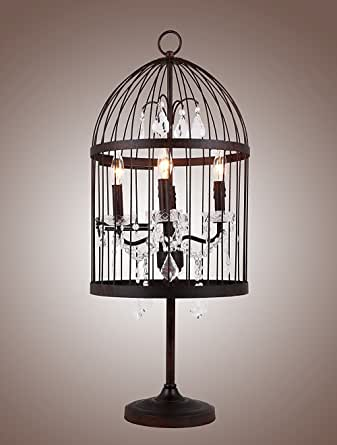 Amazon.com: Bird Cage Table Lamp Desk Light Rustic Iron ...