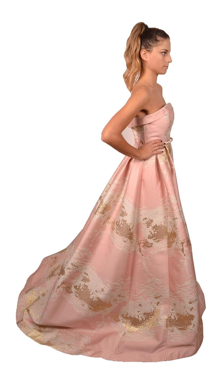 ALLURE Abito Cerimonia Donna Elegante Lungo Rosa e Oro Senza Spalline 210000   Amazon.it  Abbigliamento 685df02e98e