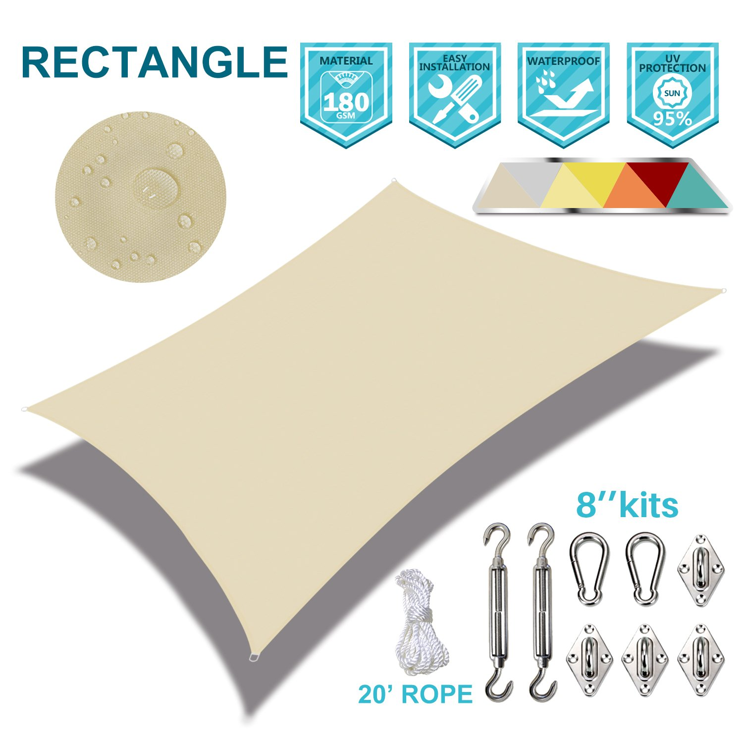 Coarbor Waterproof 21'x24' Customized Sun Shade Sail Canopy Came with Hardware Kit Rectangle UV Block Polyester for Pergola Carport Awning Patio Yard- Make to Order-Beige