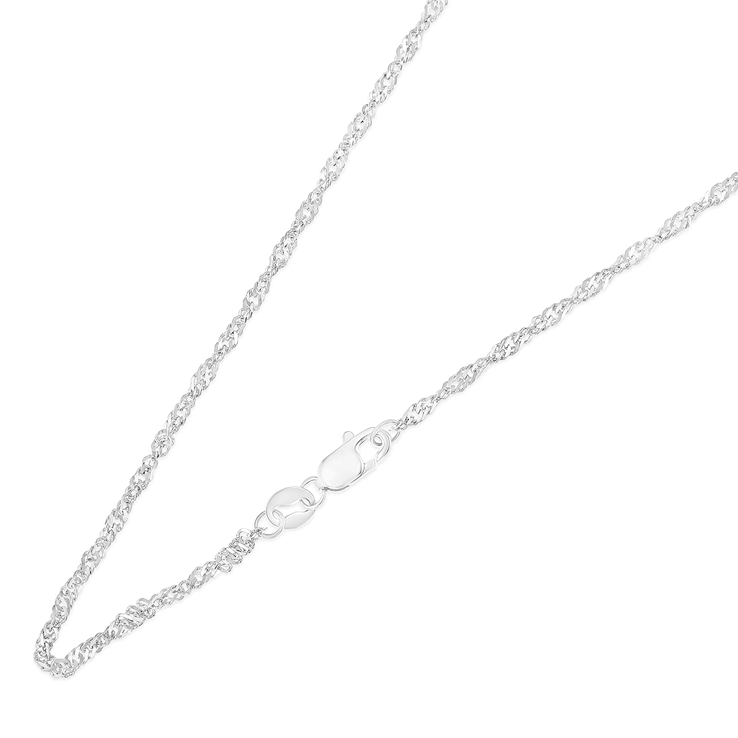14K Yellow Ioka White OR Tricolor Solid Gold 1.8mm Singapore Chain Necklace with Lobster Clasp