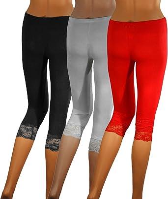3 x Mujer 3/4 PUNTA Leggings – Capri Lace Leggins – Algodón Leggin ...