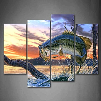 Amazon.com: First Wall Art - Fish Jump Out Water With Withered Tree ...