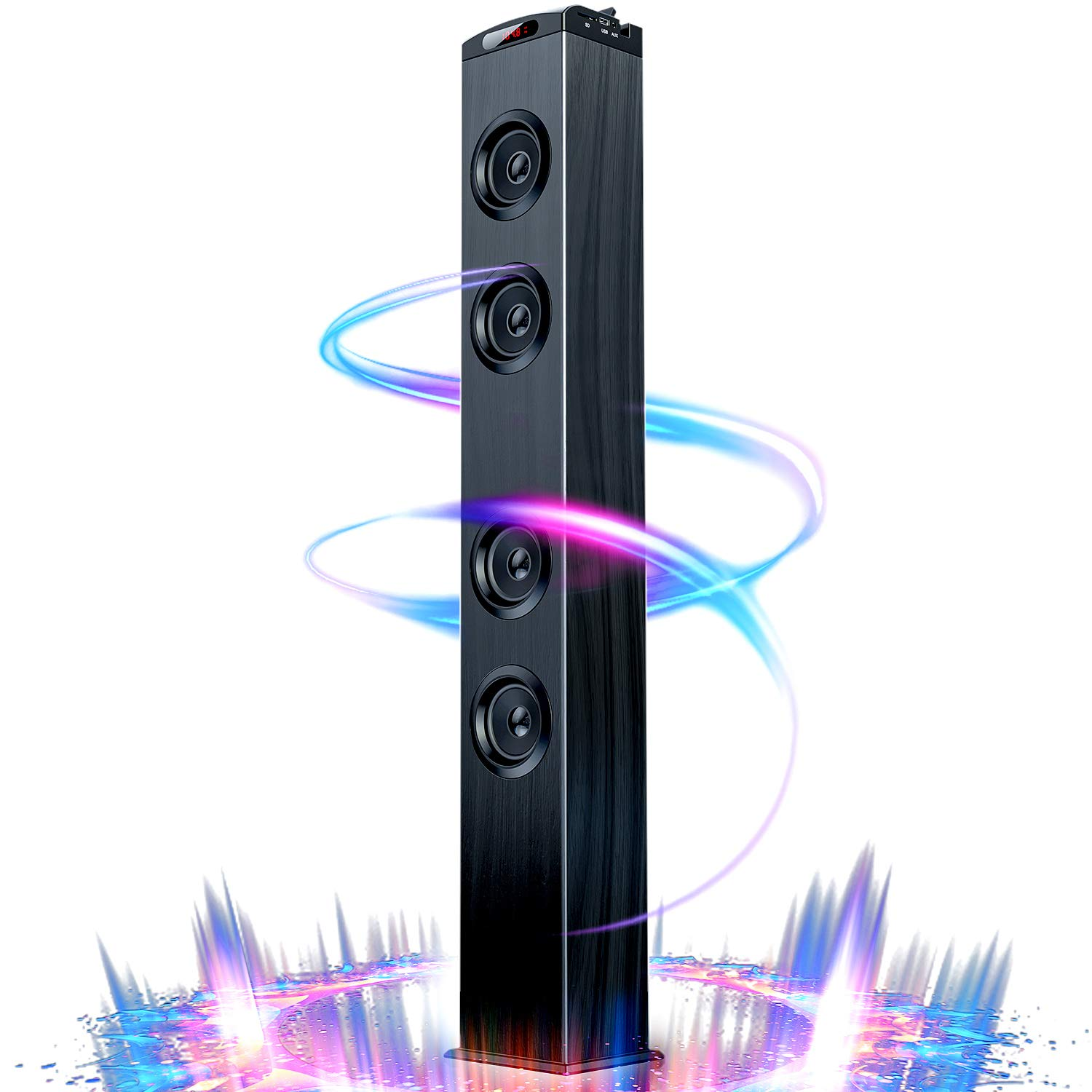 Floor Standing Bluetooth Tower Speaker, Floor Speakers for Home Stero System, Floor Standing Speakers Home Theater, VENLOIC Bluetooth Tower Speakers with Bass by VENLOIC