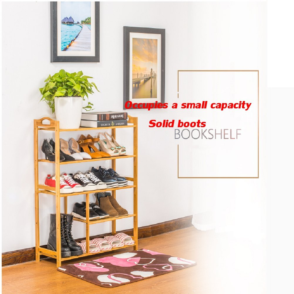Bamboo shoe rack,100% solid wood ,Flower stand, Bookshelf,Function assemble,Entryway shelf Stand shelves Stackable Entryway bedroom-D 50x25x87cm(20x10x34inch) by franchise house (Image #5)