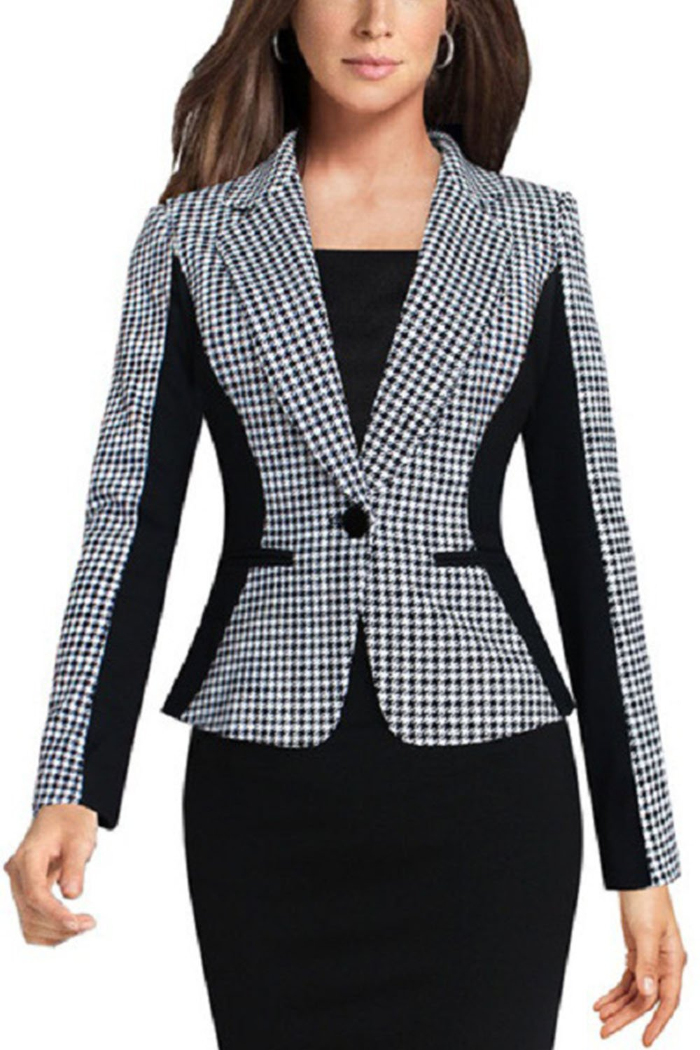 Women Formal Long Sleeve Houndstooth Suit Retro Plus Size OL Jacket White Button CAKDE82