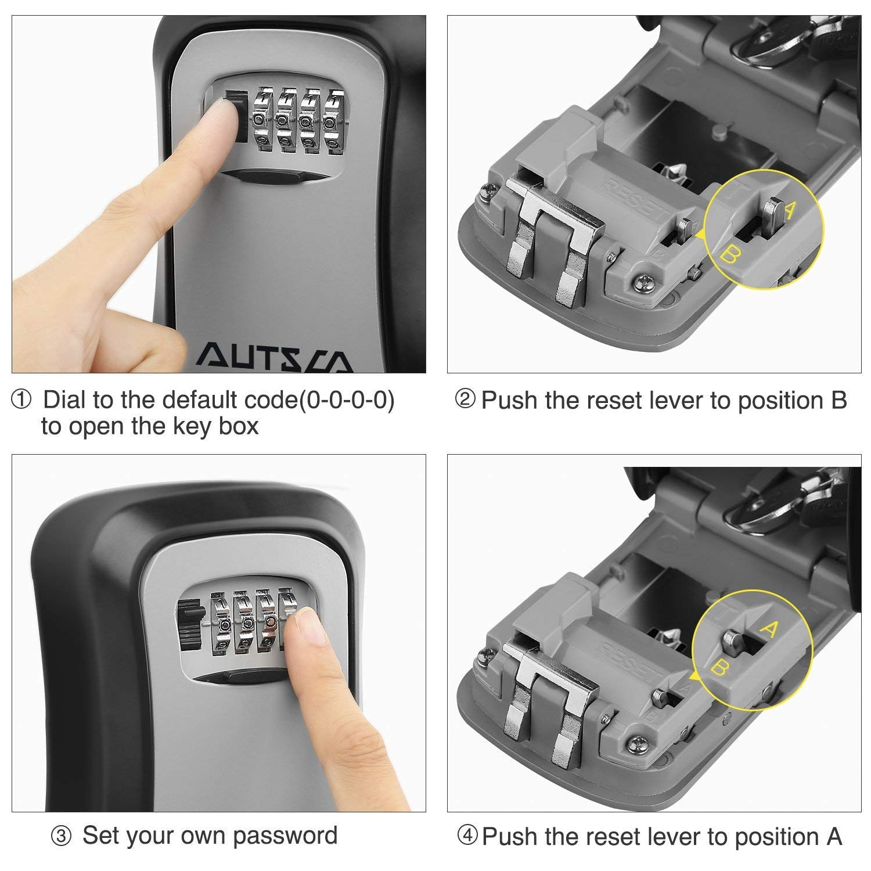 AUTSCA Boite /à cl/é s/écuris/ée Key Safe Rangement s/écuris/é Avec code num/érique /à 4 chiffres bo/îte /à cl/és avec combinaison num/érique /étanche /à leau et /à