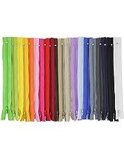 JTDEAL Cremalleras de Costura, Cremalleras de Colores, 100pcs Cremalleras de Nylon de 23cm, para Costurar Almohadas, Ropa, Falda, Pantalones, Muñecas, Carteras y más (20 colores)