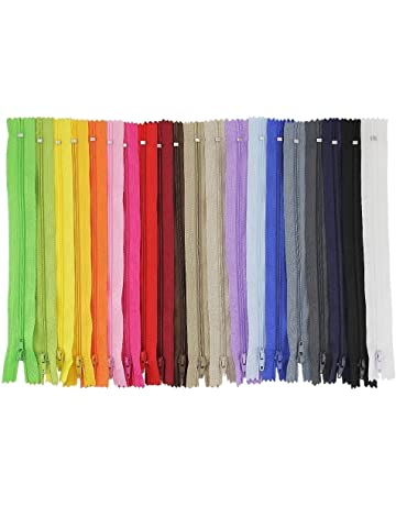 JTDEAL Cremalleras de Costura, Cremalleras de Colores, 100pcs Cremalleras de Nylon de 23cm,