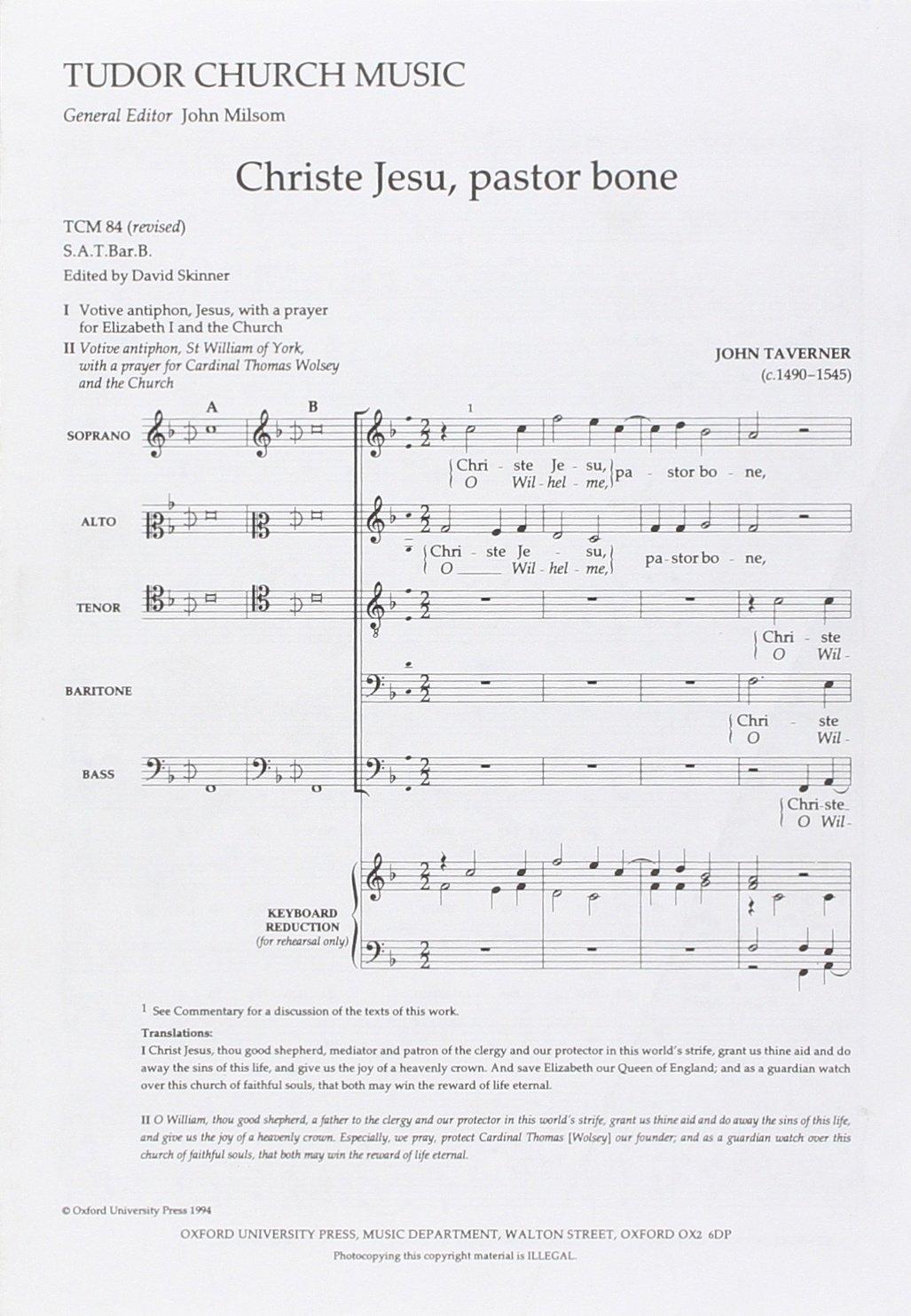 Read Online Christe Jesu, pastor bone: Vocal score (Tudor Church Music) PDF