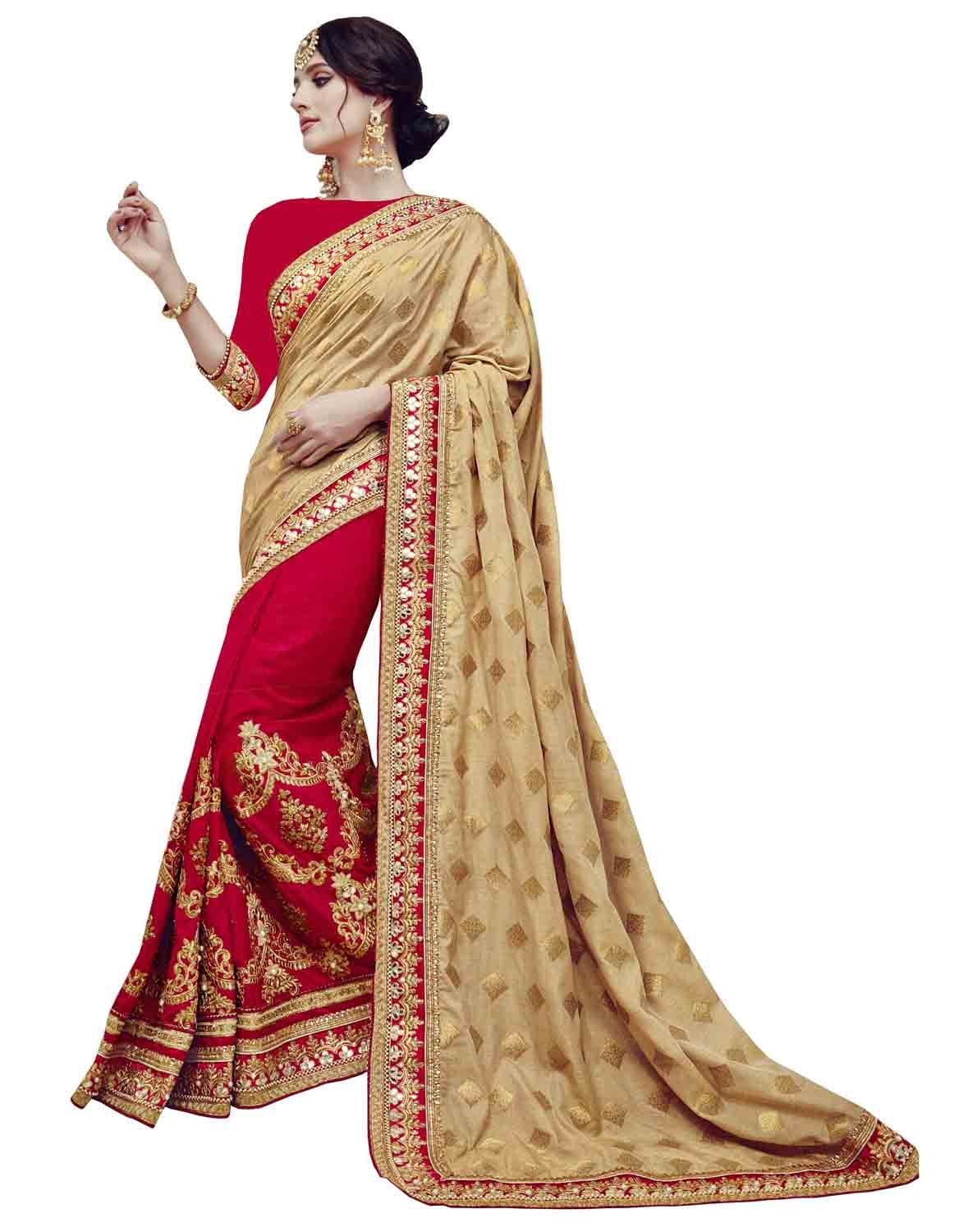 Femiss Silk Georgette Gold & red Saree With Blouse,Gold & Red,Free size