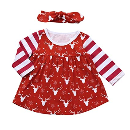f55039ffb129 Amazon.com  Gotd Toddler Infant Newborn Baby Girl Clothes Christmas ...