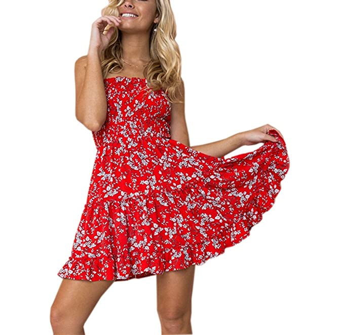 1b14f26ff559 Moxeay Women Off Shoulder Strapless Floral Print Swing Mini Dress at ...