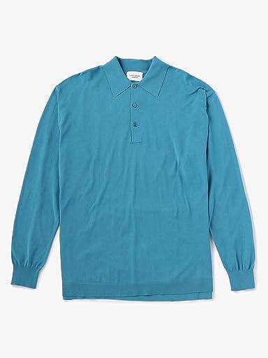 Fine Gauge Cotton Polo Sweater 1113-106-0384: Light Blue