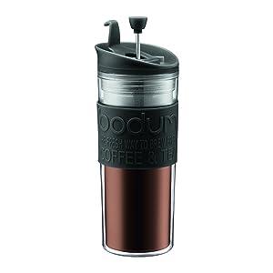 BODUM 11100-01BUS Tea and Coffee Press, Plastic Insulated Travel Mug, Black, 15 Ounce
