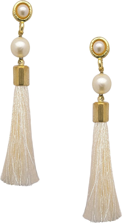 Beautiful Pair of Gold Colour Pearl Dangle Drop Earrings