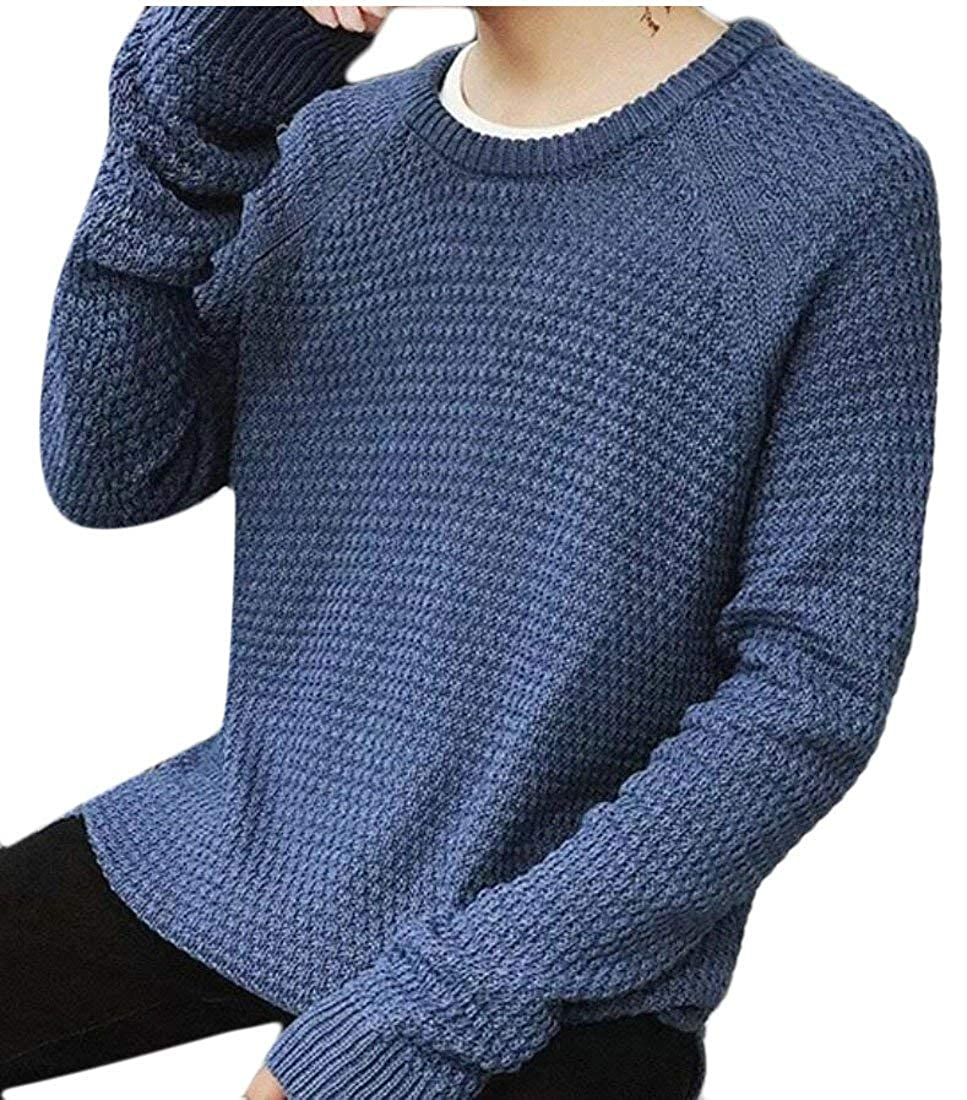 Alion Mens Warm Round Neck Long Sleeve Knit Tunic Pullover Sweater