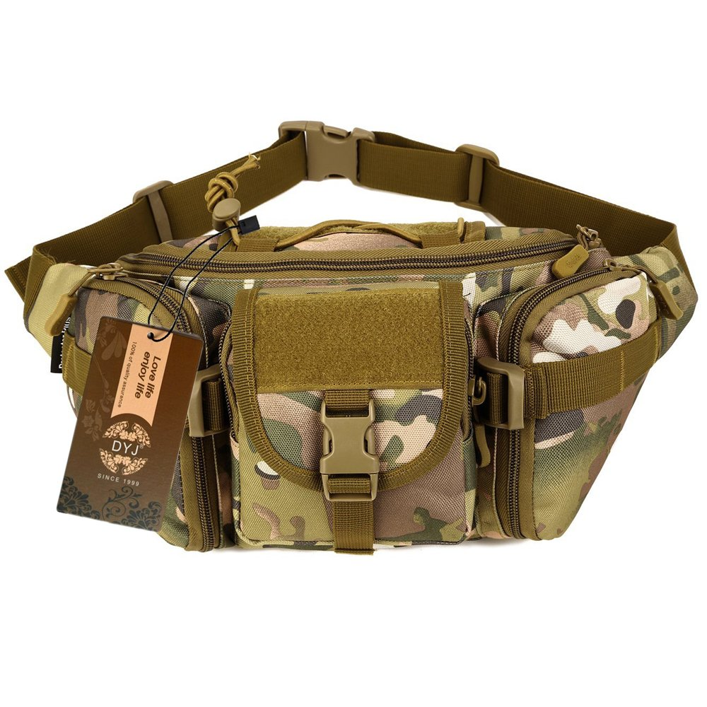 DYJ Utility Multipurpose Molle Tactical Waist Bag Hip Pack Military Fanny Pack Compact Waterproof Hip Belt Bag Pouch Hiking Climbing Outdoor Bumbag (CP Camouflage)