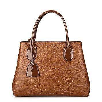 Coolives Damen Zwei Material Nähen Krokodil Muster Handtaschen Braun ...