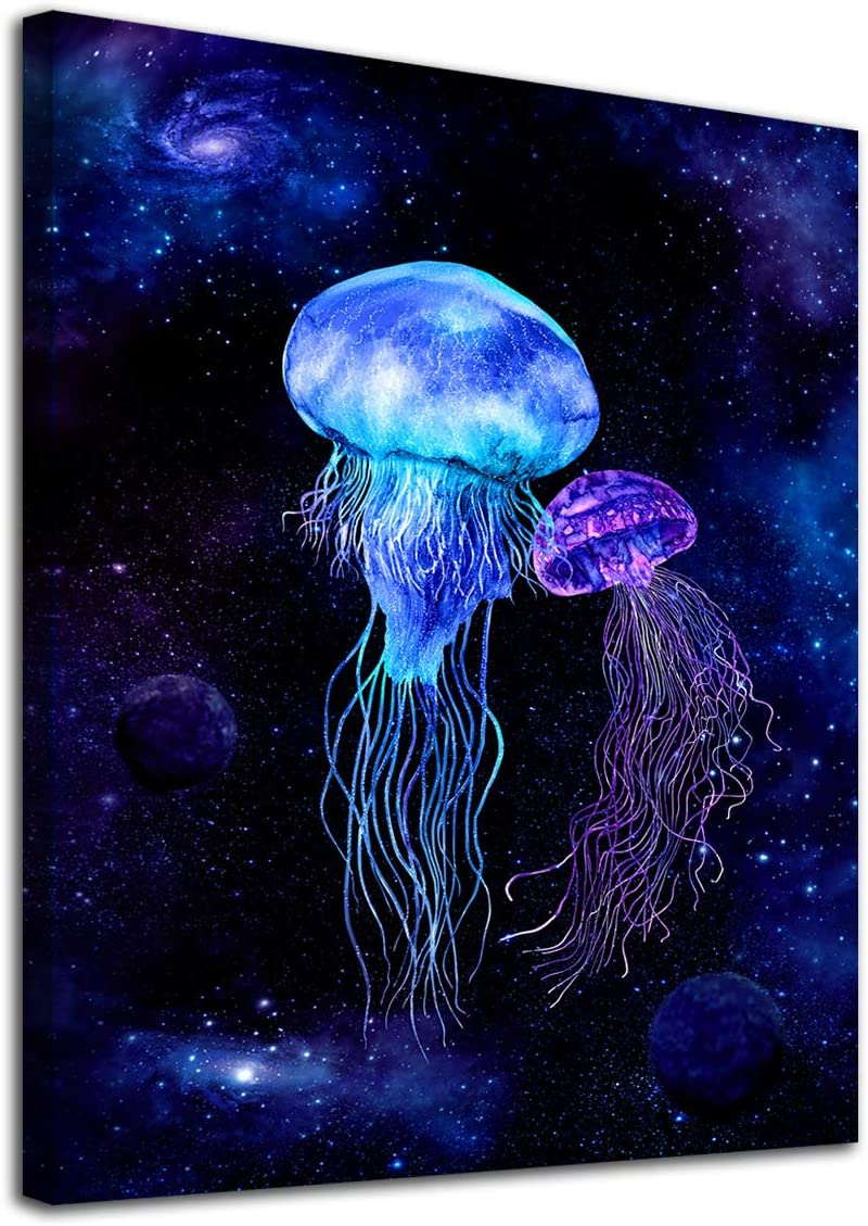 "Jellyfish Wall Art Cosmic Galaxy Ocean Canvas Picture Fantastic Sea World Blue Modern Artwork Contemporary Art Print Framed for Home Office Kitchen Bathroom Bedroom Nursery Living Room Decor 12"" x 16"""