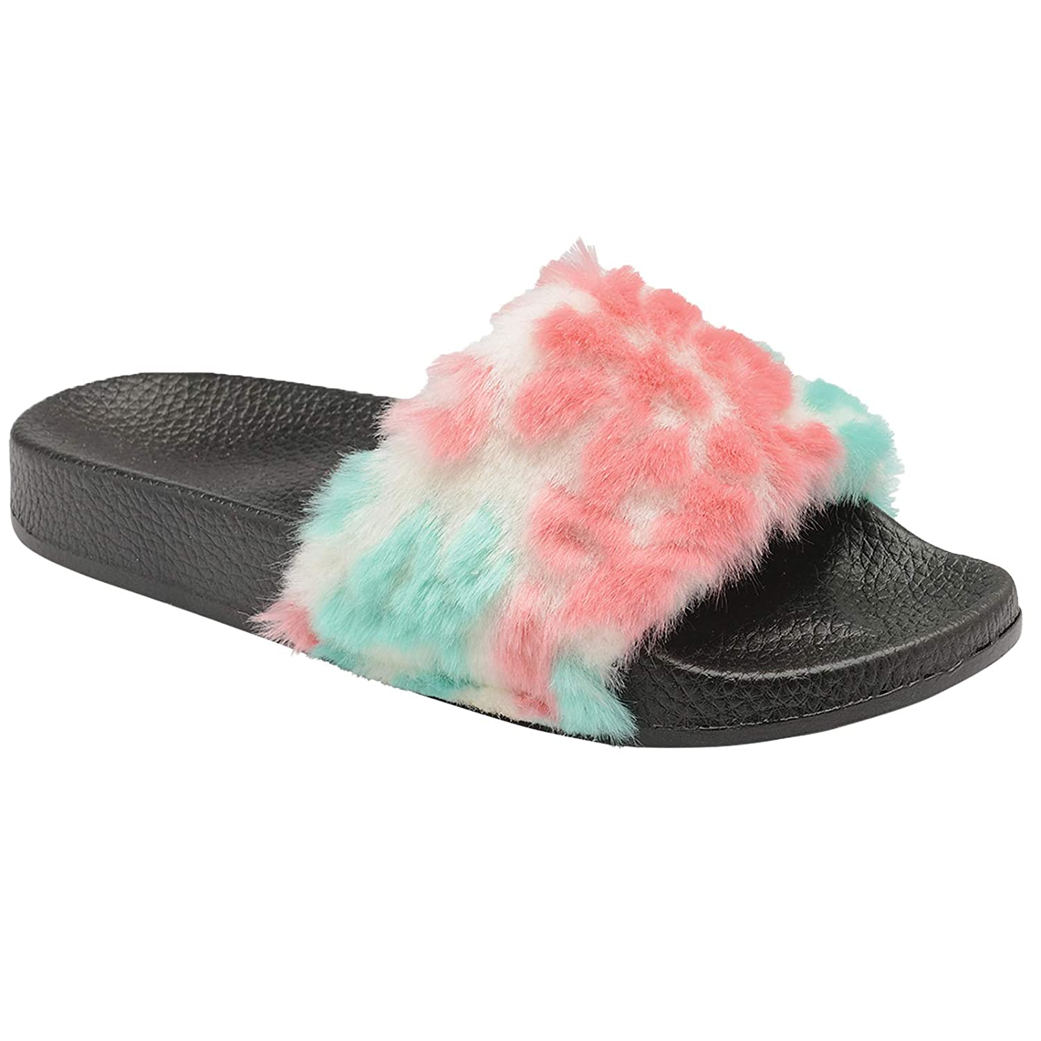 d9515d9fa42d Womens Ladies Faux Fur Flat Sliders Slip On Slippers Holiday Summer Casual  Chic Sandals Mules  Amazon.co.uk  Shoes   Bags