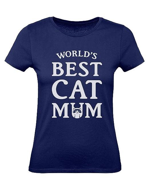 Green Turtle T-Shirts Camiseta para Mujer - -WorldS Best Cat Mum- Regalo Original para Las Amantes de los Gatos en el día de la Madre: Amazon.es: Ropa y ...